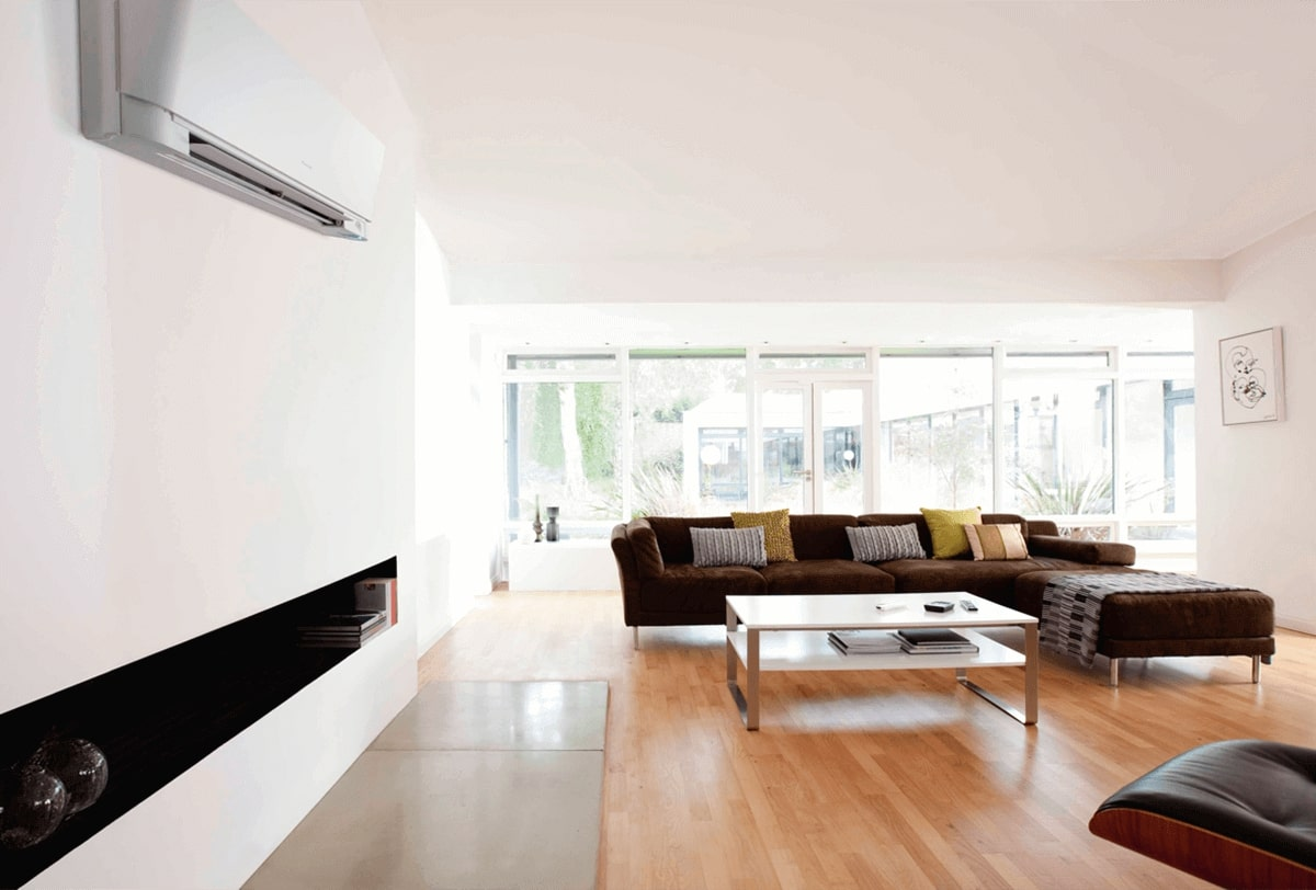 high wall heat pump in lounge