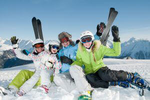 Family skiing in New Zealand
